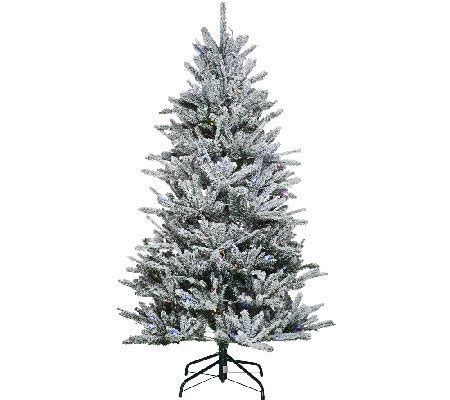 qvc christmas trees santa s best 6 5 snow flurry tree with 7 function led lights page 1 qvc