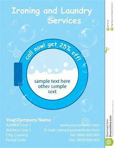 ironing service flyer template - laundry services flyer template stock illustration