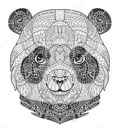 panda coloring pages colouring mandala adult zentangle animal face sheets adults sheet print detailed drawing designs books printable animals cool