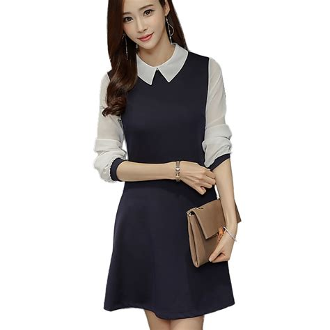 Black Blue Office Dresses Women New Arrivals Fashion Long