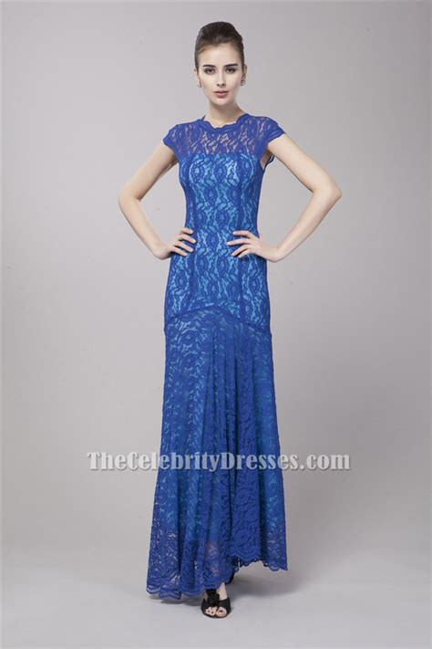Celebrity Inspired Floor Length Royal Blue Lace Formal