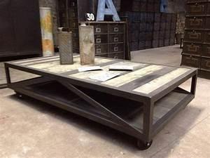Table De Salon Industrielle : tables basses mobilier industriel l 39 or du temps ~ Teatrodelosmanantiales.com Idées de Décoration