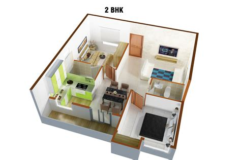 2 Bhk Home Design Image : 25 More 2 Bedroom 3d Floor Plans