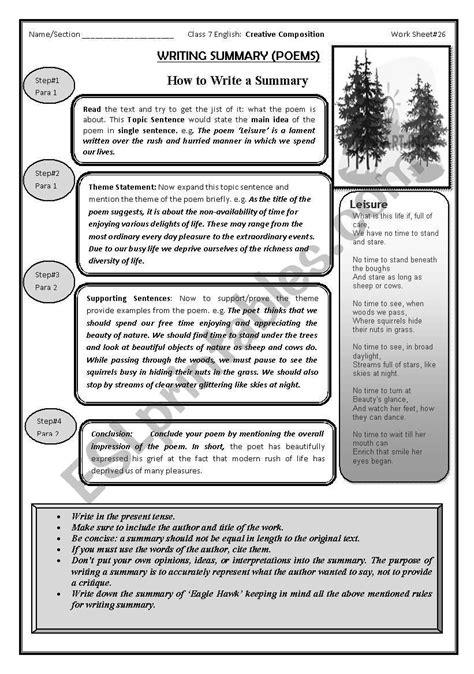 summary writing esl worksheet by nurjis