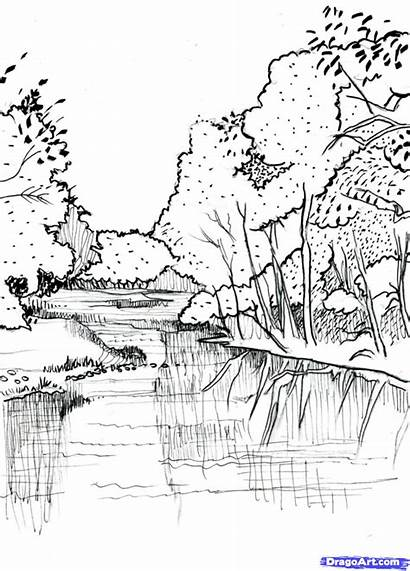 River Draw Realistic Drawing Step Landscape Sketch