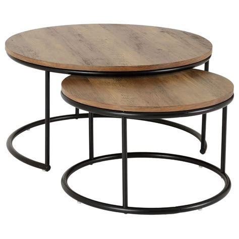 For a natural take, opt for wood. Quebec Round Coffee Table Set Medium Oak Effect/Black - Brixton Beds