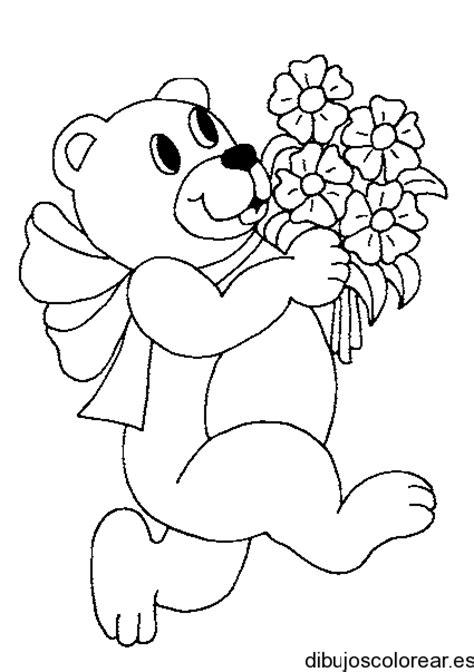 dibujo de  oso  ramo de flores