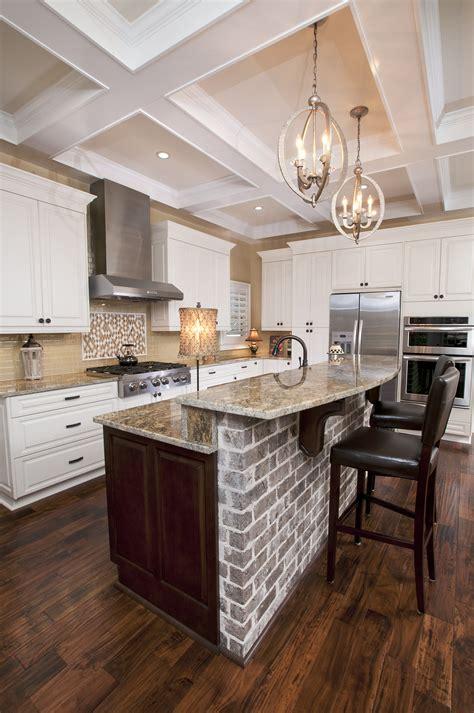 kitchen tile backsplash photos modern white kitchen ideas with brick wall and brown floor 6245