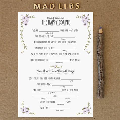 printable wedding mad libs popsugar smart living