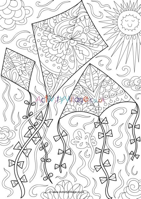 kites doodle colouring page