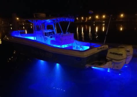 underwater led boat lights lit up at dockside this 33 is loaded with