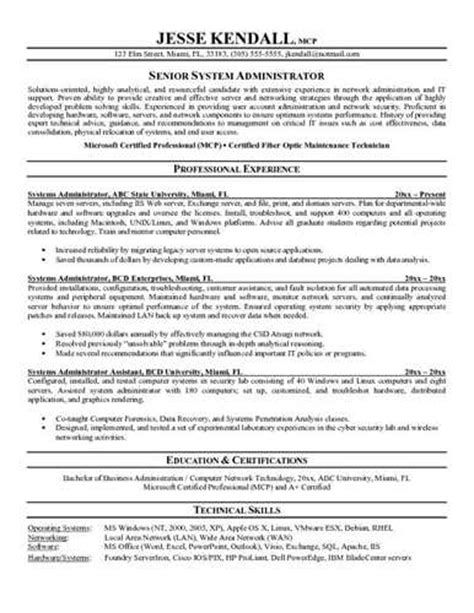 Unix System Admin Resume by System Administrator Resume Exle Page 1