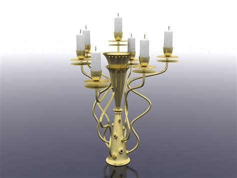 Vintage brass candlestick holder 3d model 3ds max files