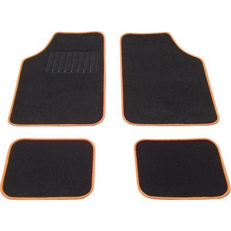 tapis voiture universel moquette noir surjet orange feu vert