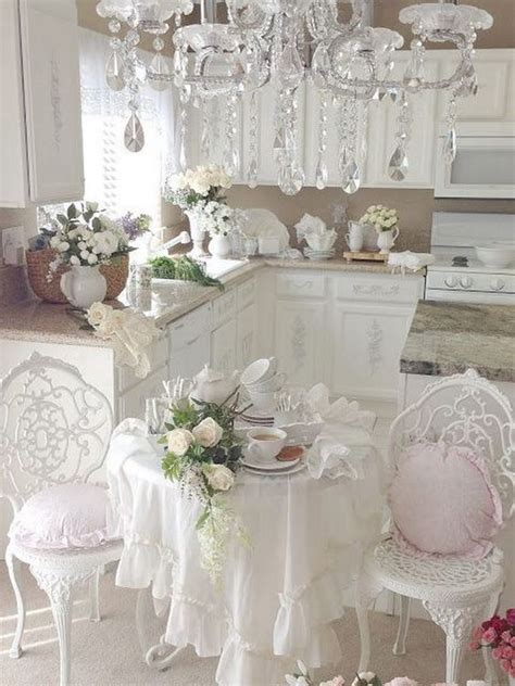 Romantic Shabby Chic Kitchen With Gorgeous Chandelier