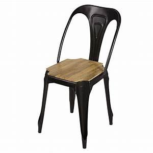 Chaise Industrielle Metal : chaise indus en m tal noir mat et manguier multipl 39 s maisons du monde ~ Teatrodelosmanantiales.com Idées de Décoration