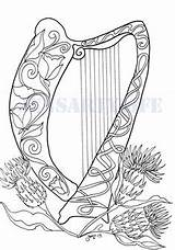 Harp Pages Coloring Celtic Colouring Irish Printable Craft Flowers Embroidery Fairy Patterns Sheets Adult Mosaic Techniques Pattern Zentangle Hearts David sketch template