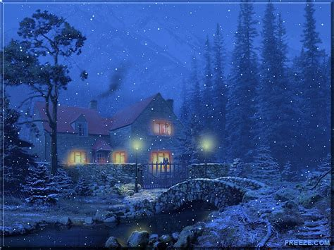 Snowy Cottage Animated Wallpaper - free wallpapers by tlc wallpapers tlc 3d snowy