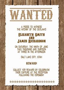 Wanted western wedding invitation free template for Funny country wedding invitations