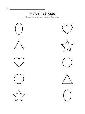 match  shapes worksheet school