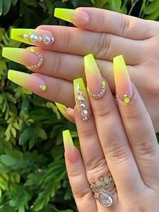 Cute Summer Acrylic Nail Designs Cute Neon Yellow Nail Art Designs For Girls In Year 2019