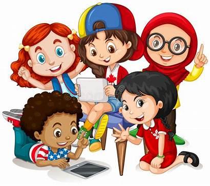 Children Working Clipart Vector Illustration Happy Together