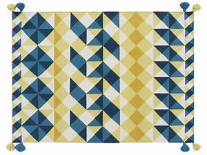 Tapis Jaune Et Bleu : tapis kilim mosa ek 240 x 170 cm jaune bleu gan ~ Dailycaller-alerts.com Idées de Décoration