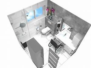 Plan 3d Salle De Bain : plan salle de bain handicape ~ Melissatoandfro.com Idées de Décoration