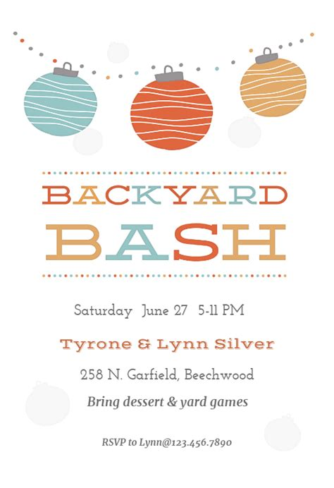 backyard bash printable party invitation template