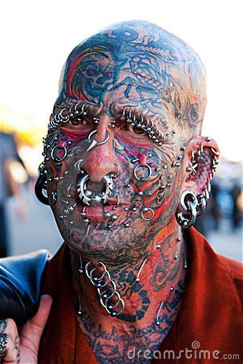 face  tattoos  piercings editorial stock photo