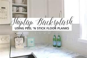 faux shiplap backsplash with peel n stick flooring