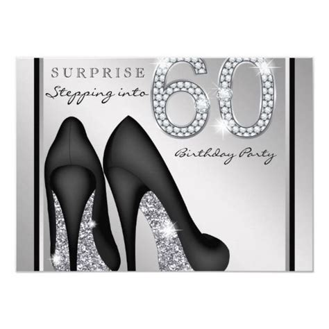 womans surprise  birthday party silver invitation
