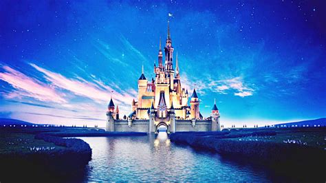 Disney Castle And River With Background Of Blue Sky And