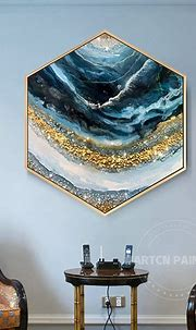 Framed Wall Art Abstract Seascape epoxy Resin Geode ...