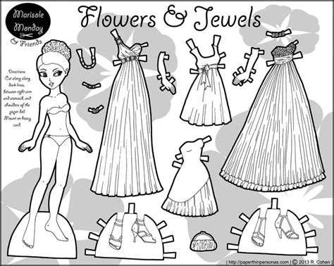 marisole monday paper dolls  black  white flowers