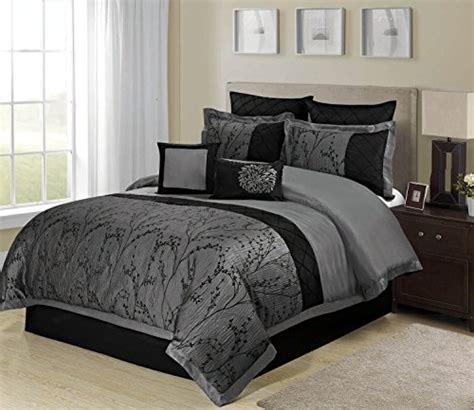 8 Piece Weistera Jacquard Tree Branches Pattern Comforter Sets King Dark Grey Home Garden Linens