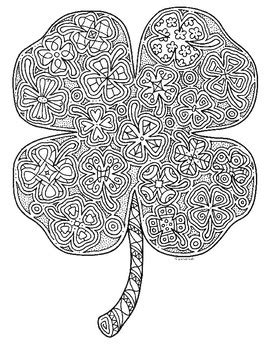 st patricks day  leaf clover shamrock zentangle