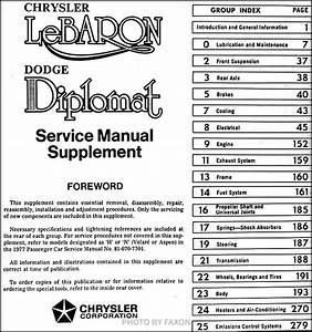 1977 Diplomat  U0026 Lebaron Repair Shop Manual Original Supplement