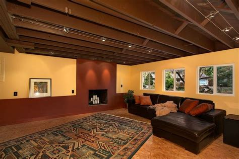 basement lighting best semi finished basement ideas regarding unique 9432 Unfinished