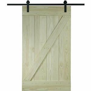 Wood barn door kit 30quot x 80quot unfinished pine z design for 80 inch barn door