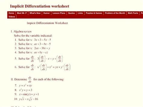 implicit differentiation worksheet    grade