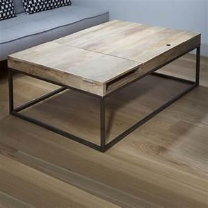 Table En Manguier : table basse en manguier et m tal noir double z ro guibox decoclico ~ Teatrodelosmanantiales.com Idées de Décoration