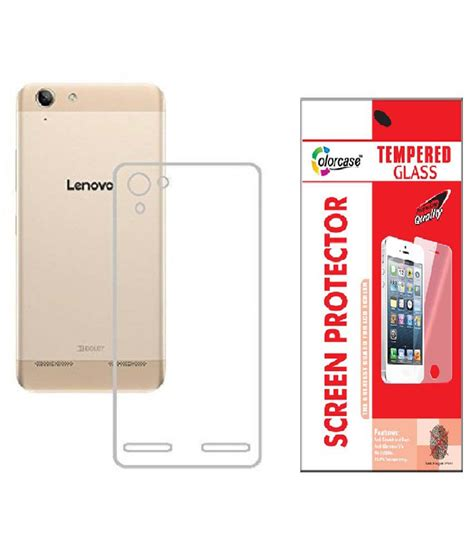 tempered glass lenovo vibe k5 note colorcasecombo oftransparent transparent back cover