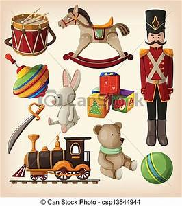 EPS Vector of Set of colorful vintage toys - Set of