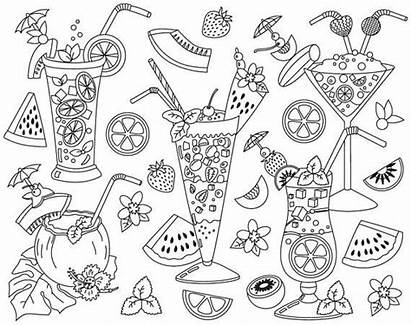 Clipart Cocktail Cocktails Coloring Pages Drink Summer