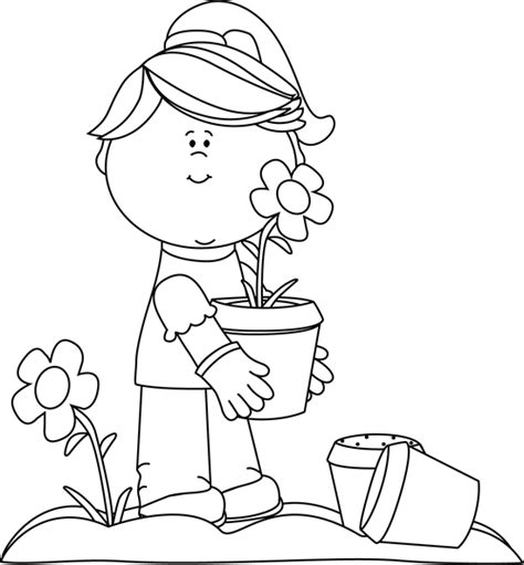 gardening clipart black and white black and white planting flowers clip black and