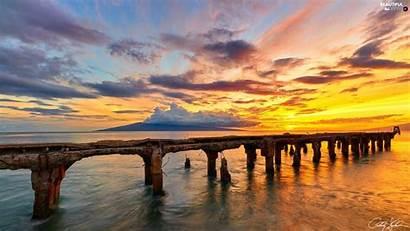 Views Sunsets Clouds Platform Wallpapers Damaged Sea