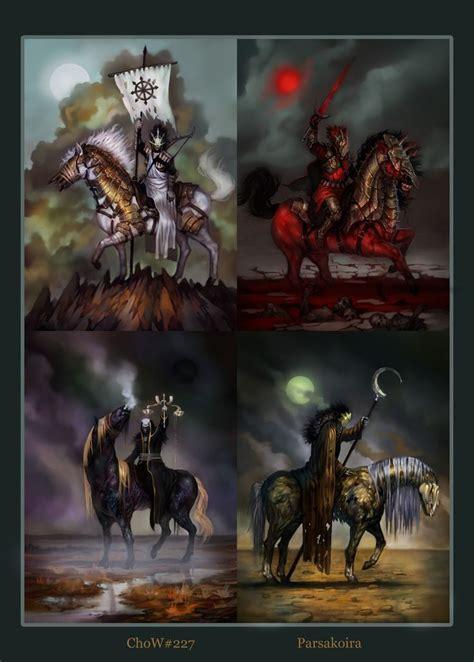 horsemen apocalypse four horseman horses horse death war pale fantasy revelation pestilence famine artwork tattoo spreads carries rider revelations conceptart