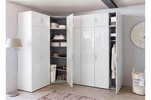 Armoire D Angle Chambre : armoire d 39 angle dressing blanc brillant design cbc meubles ~ Melissatoandfro.com Idées de Décoration