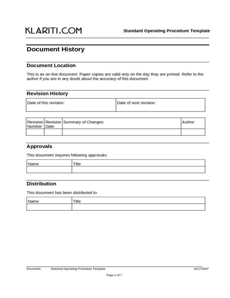 Standard Will Template Free by Standard Operating Procedure Template Free